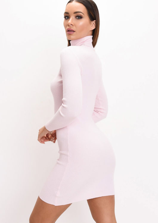 Roll Neck Ribbed Knit Dress Pink