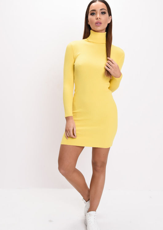 Roll Neck Ribbed Knit Dress Yellow