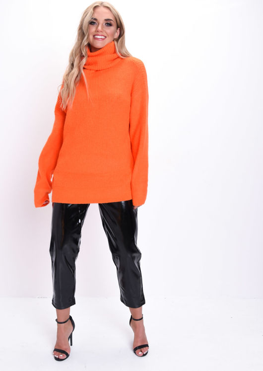 Oversized Neon Roll Neck Ribbed Knit Jumper Orange