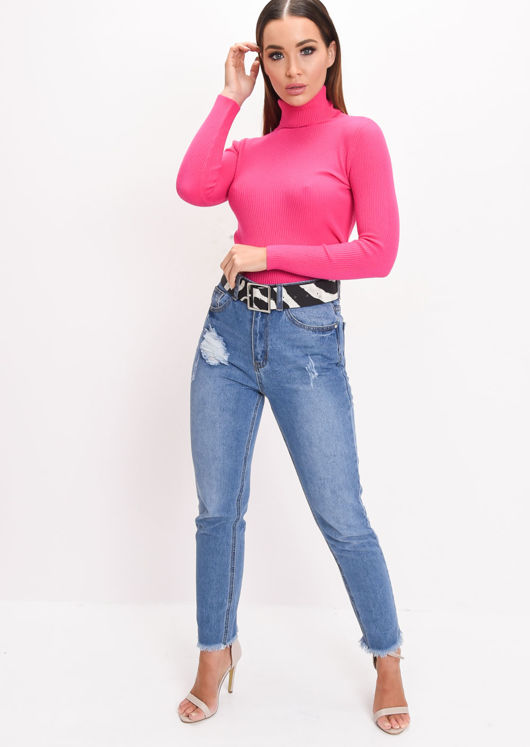 Roll Neck Ribbed Knit Top Fuchsia Pink