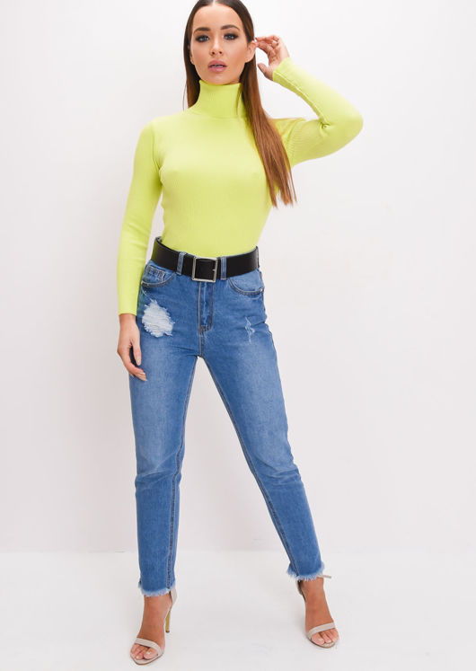 Roll Neck Ribbed Knit Top Neon Green
