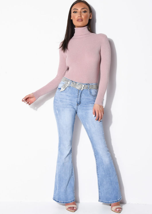 Roll Neck Ribbed Knit Jumper Top Pink