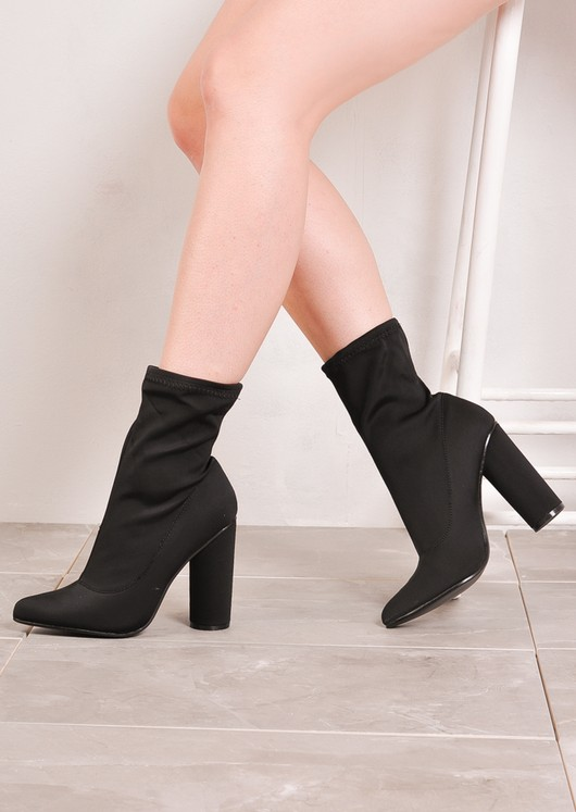 new watch quality Round Heel Ankle Sock Boots In Lycra Black