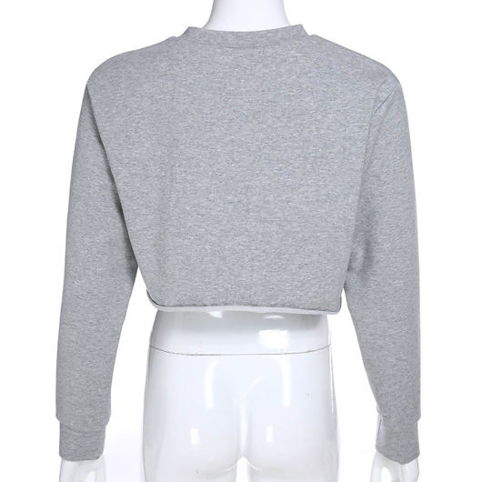 Round Neck Hemless Long Sleeve Crop Top White