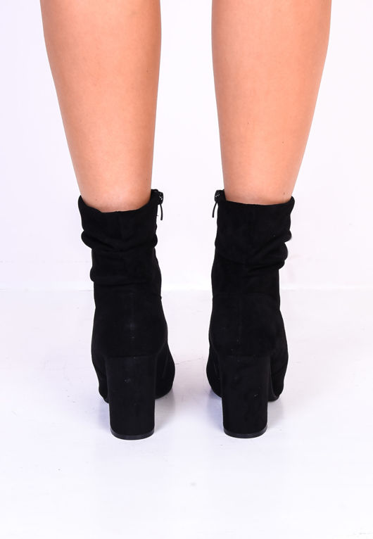 Ruched Block Heel Pointed Suede Ankle Boots Black