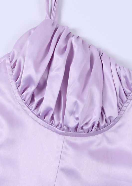 Ruched Cupped Satin Lace Up Mini Dress Pink