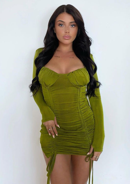 Long Sleeve Cupped Ruched Slinky Bodycon Mini Dress Green