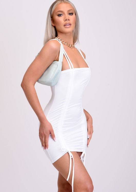 Ruched Drawstring Bodycon Mini Dress White