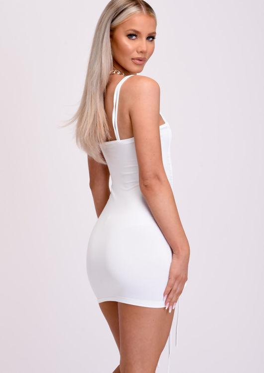 Ruched Drawstring Bodycon Mini Dress White
