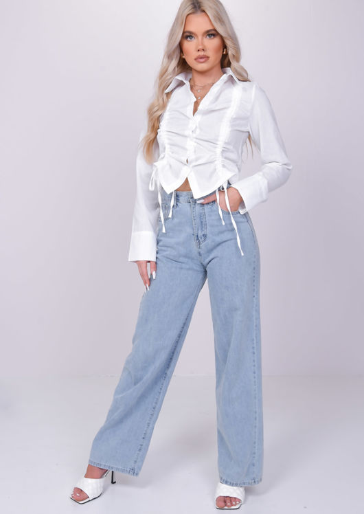 Ruched Drawstring Collared Shirt Crop Top White