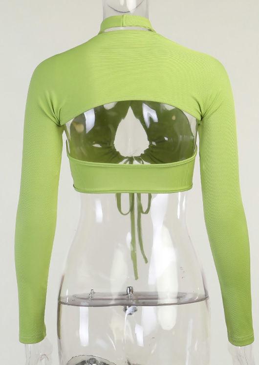 Ruched Drawstring Halterneck Long Sleeve Shrug Cardigan Crop Top Two Piece Green