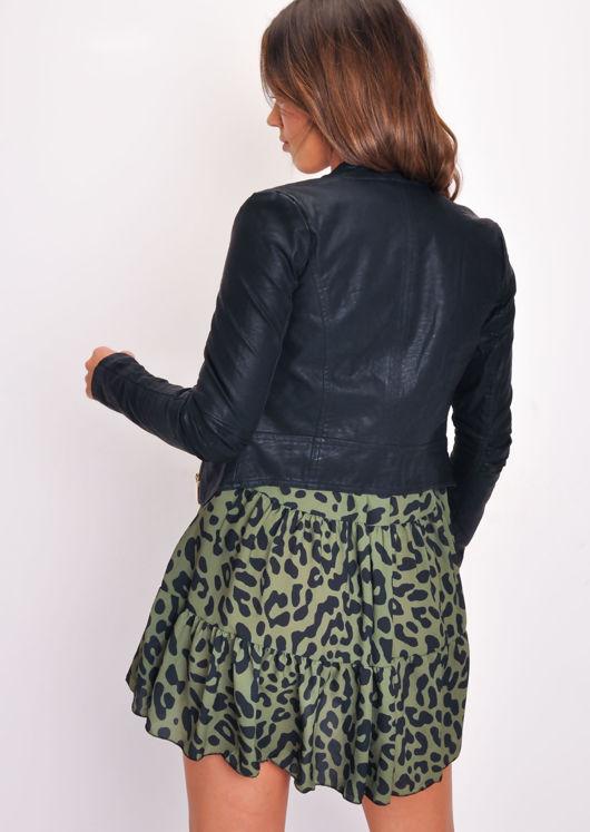 Faux Leather Slim Fit Cropper Biker Jacket Black