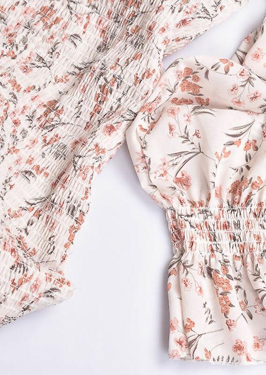 Ruched Floral Print Blouson Sleeves Mini Dress White