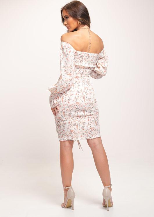 Shirred Square Neckline Floral Print Blouson Sleeves Midi Dress White