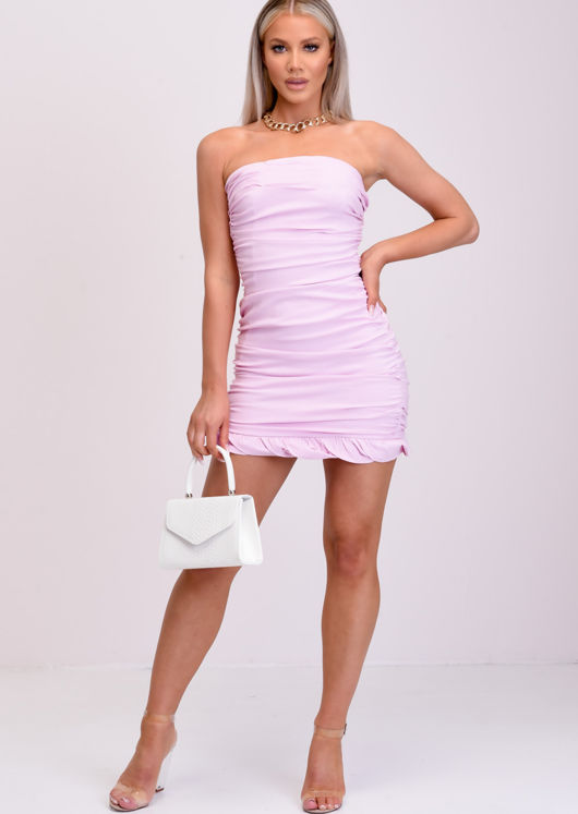 Mesh Ruched Frill Strapless Bodycon Mini Dress Pink