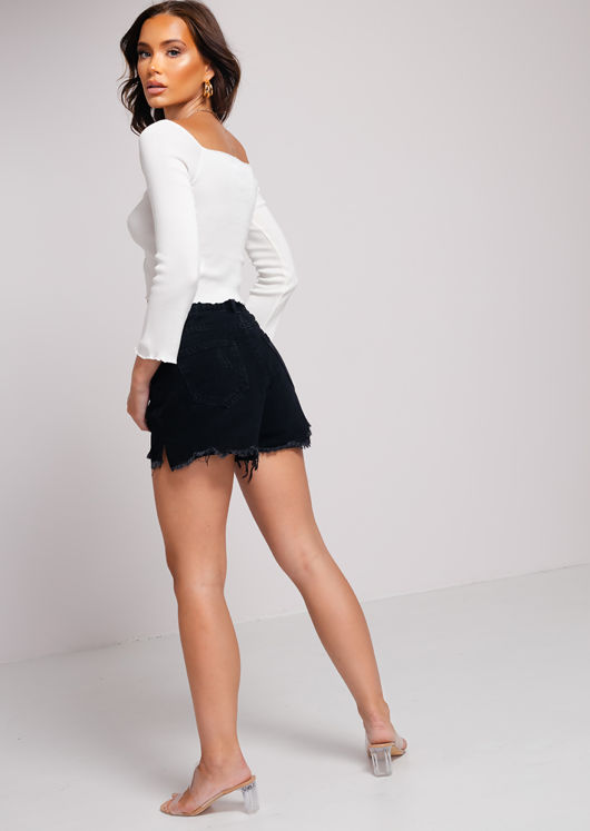 Ruched Front Square Neckline Long Sleeve Crop Top White