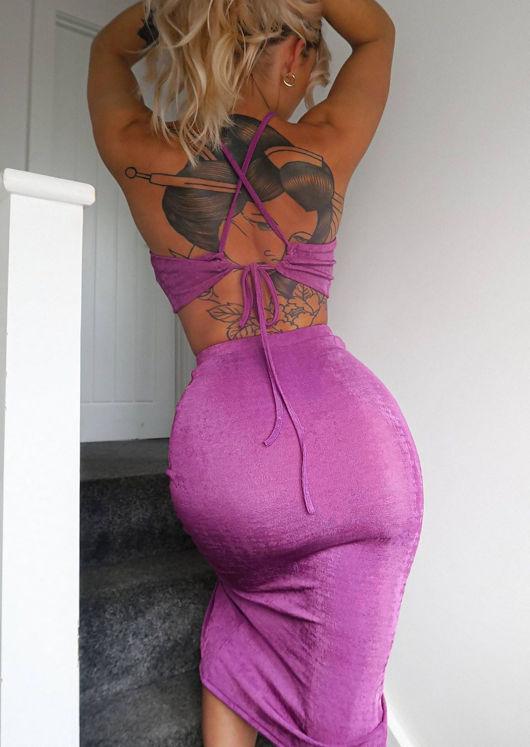Ruched Front Halterneck Crop Top And Back Split Midi Skirt Co-Ord Set Purple