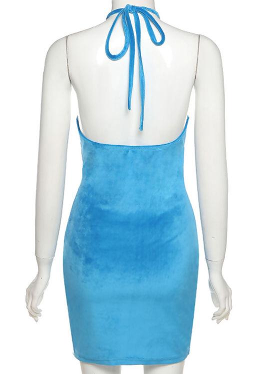 Ruched Halterneck Side Split Cut Out Velvet Mini Dress Pink
