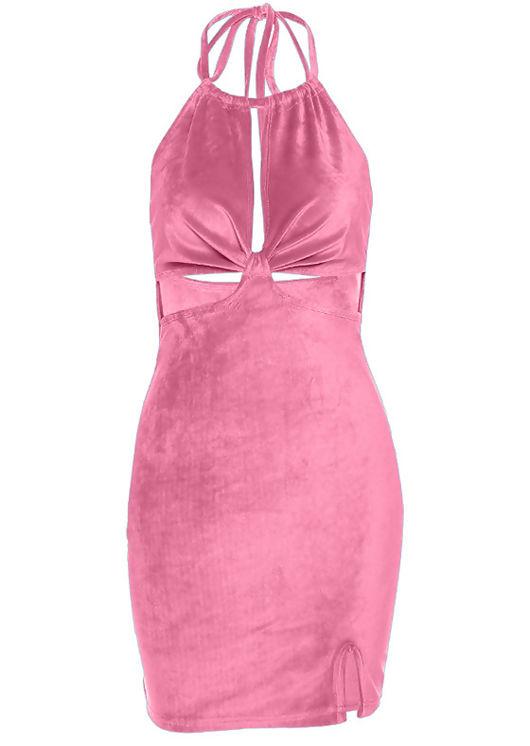 Velvet Halterneck Cut Out Side Split  Mini Dress Pink