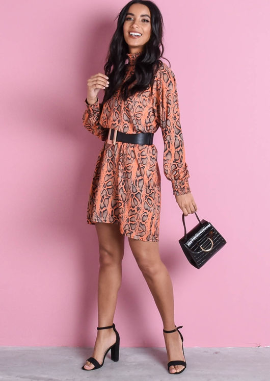 Ruched High Neck Snakeskin Print Long Sleeve Smock Dress Neon Orange