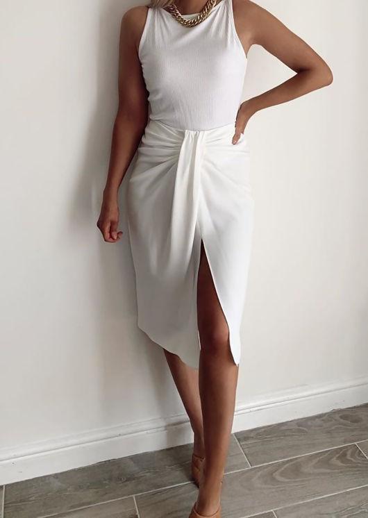 Ruched Knot Detail Midi Front Slit Dress White