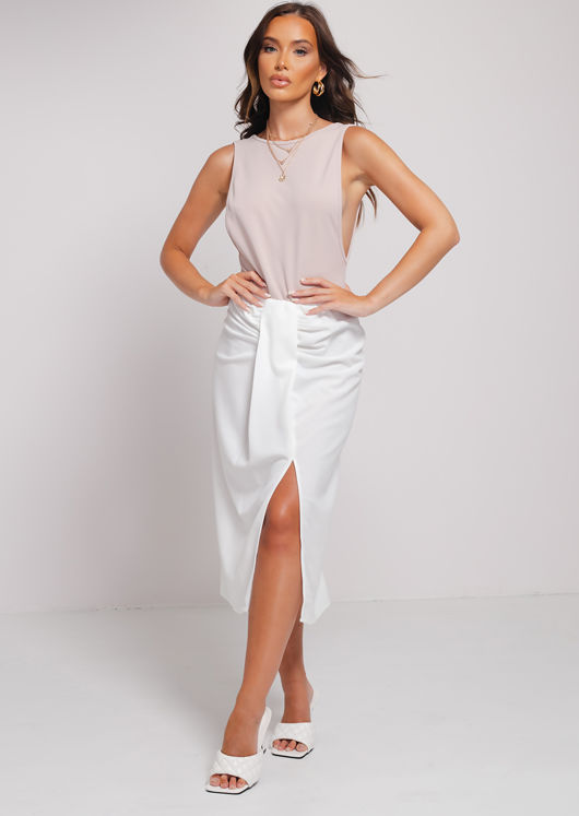 Ruched Knot Detail Midi Front Wrap Slit Skirt White