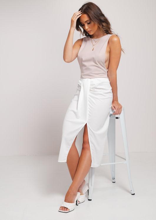 Ruched Knot Detail Midi Front Wrap Slit Skirt White