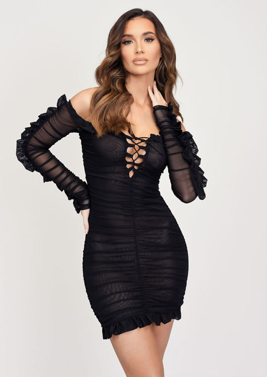 Ruched Long Sleeve Mesh Mini Dress Black