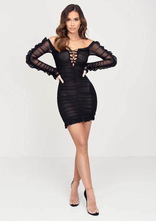 Ruched Long Sleeve Mesh Mini Dress Black