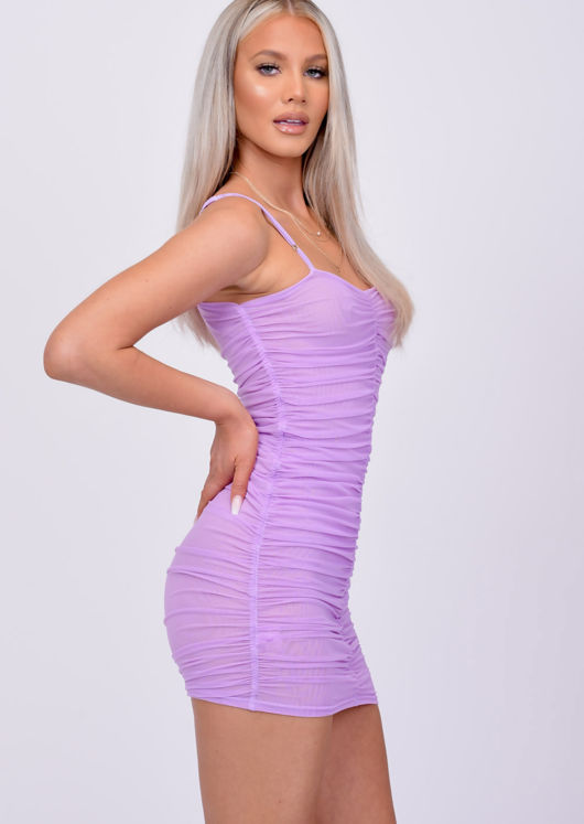 Ruched Mesh Bodycon Mini Dress Purple