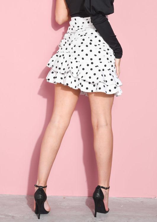 Ruched Polka Dot Layered Frill Hem Mini Skirt White