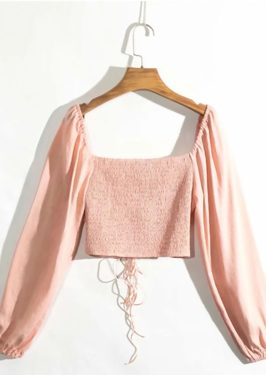Ruched Puff Sleeves Tie Front Crop Top Pink