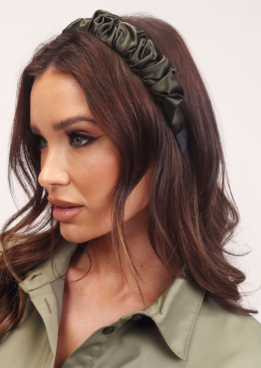 Ruched Satin Headband Green