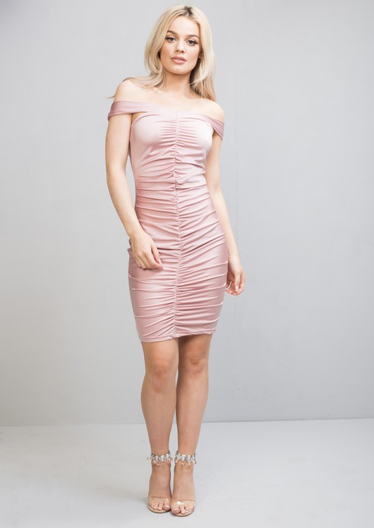 Ruched Satin Off The Shoulder Midi Bodycon Dress Pink