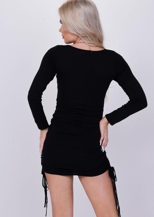 Ruched Side Drawstring Bodycon Mini Dress Black