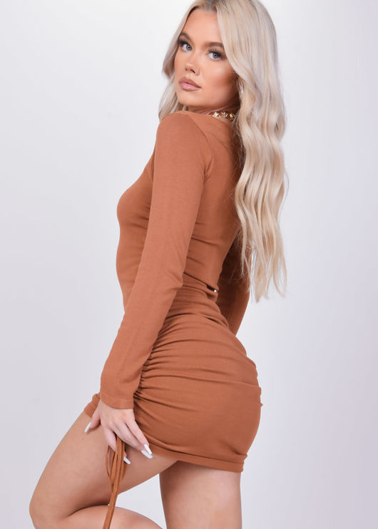 Ruched Side Drawstring Bodycon Mini Dress Brown