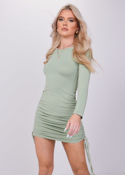 Ruched Side Drawstring Bodycon Mini Dress Green
