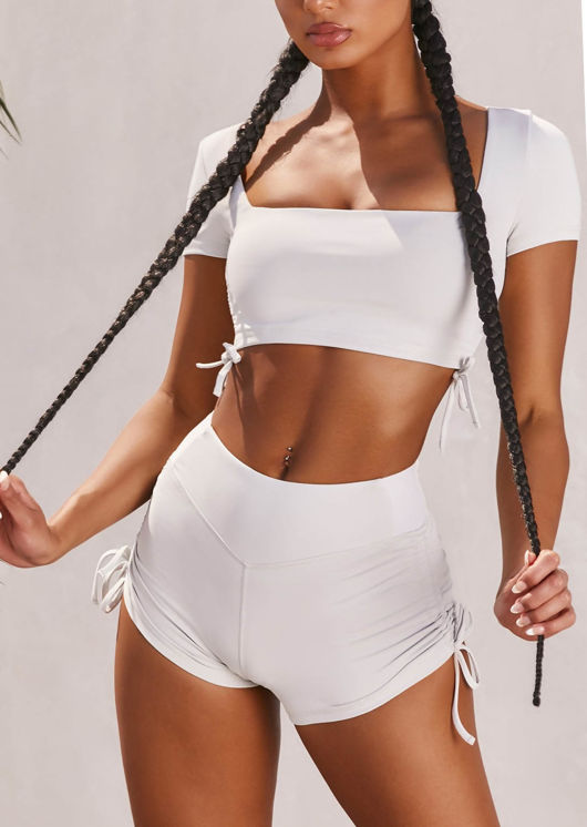 Ruched Side Drawstring Crop Top and Shorts Loungewear Set White