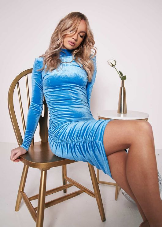 Ruched Side Long Sleeves Velvet Bodycon Midi Dress Blue