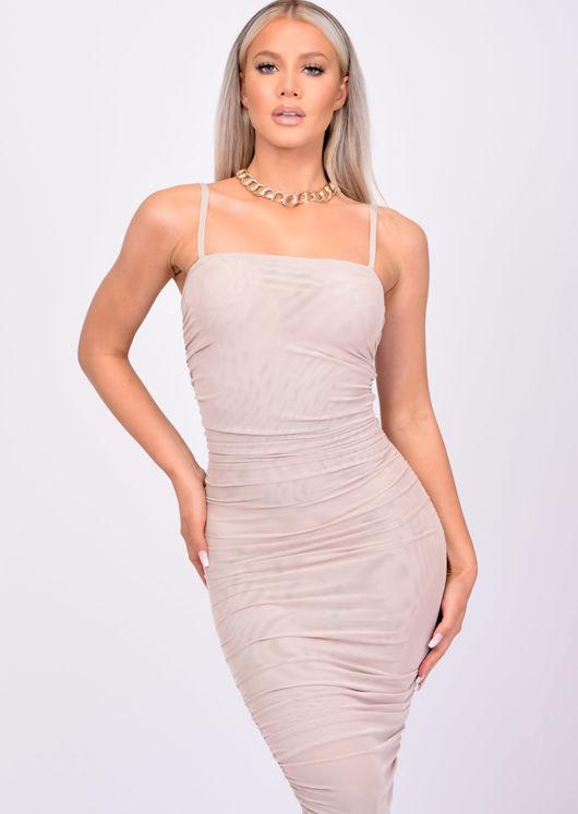 Mesh Ruched Side Split Midi Dress Beige