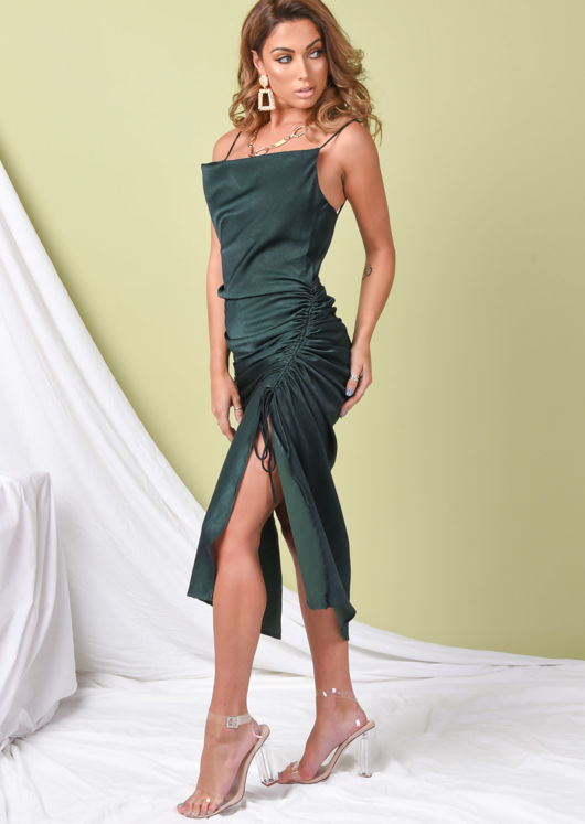 Ruched Side Splits Cowl Neck Maxi Dress Emerald Green