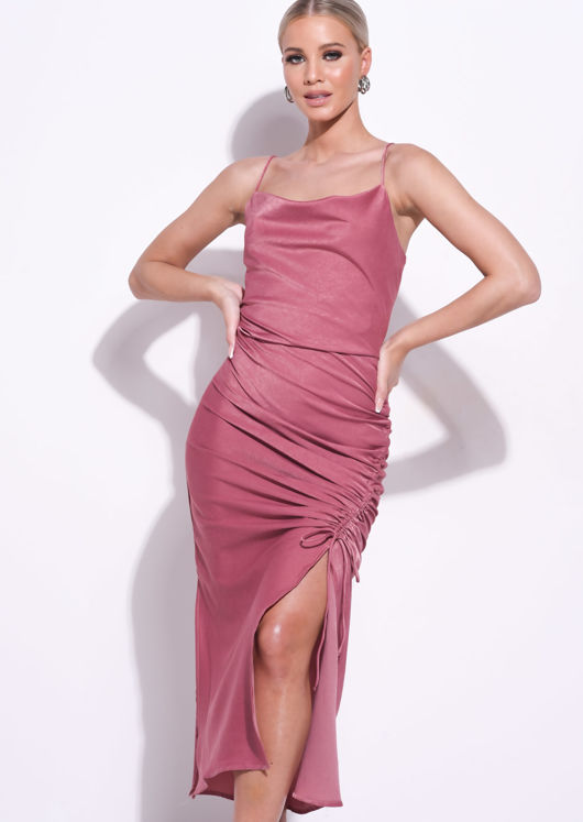 Ruched Side Splits Cowl Neck Maxi Dress Pink