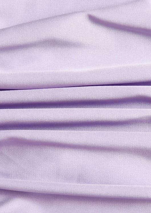 Ruched Silk Bottom Puffed Sleeved Midi Dress Purple