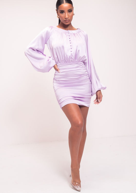 Ruched Satin Bottom Puffed Long Sleeved Mini Dress Purple