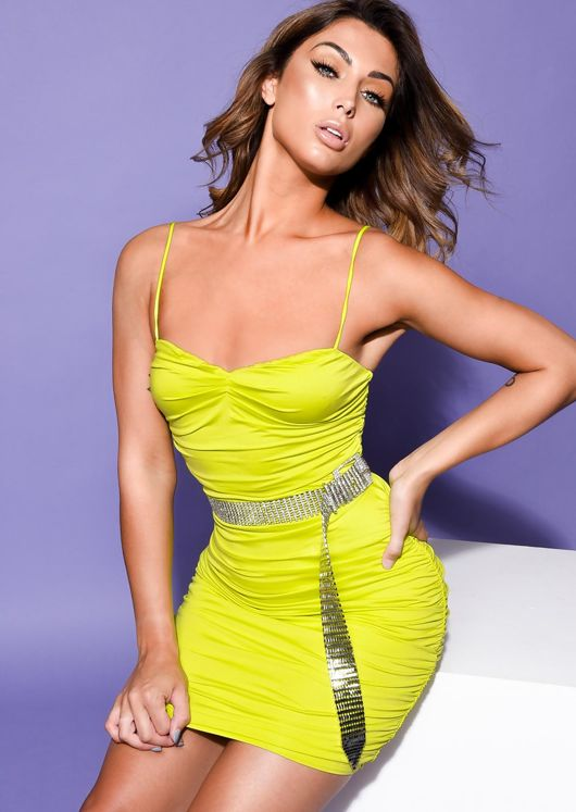 Ruched Skinny Straps Slinky Mini Dress Neon Green