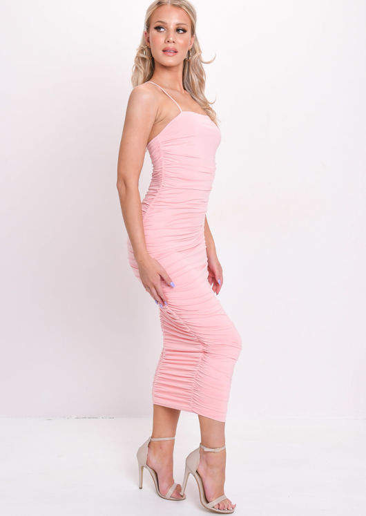 Ruched Slinky Bodycon Midaxi Dress Pink