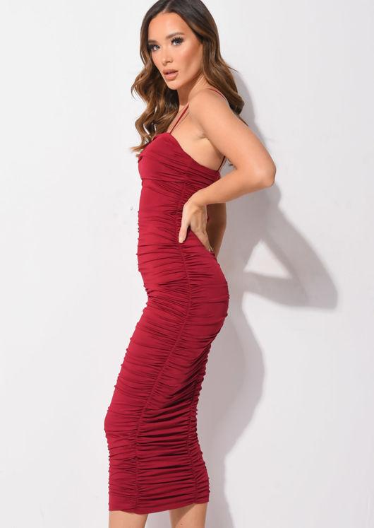 Ruched Slinky Skinny Straps Bodycon Midaxi Dress Burgundy Red
