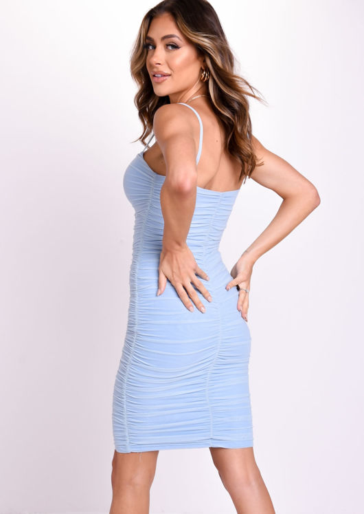 Ruched Square Neck Strappy Mesh Overlay Midi Dress Blue