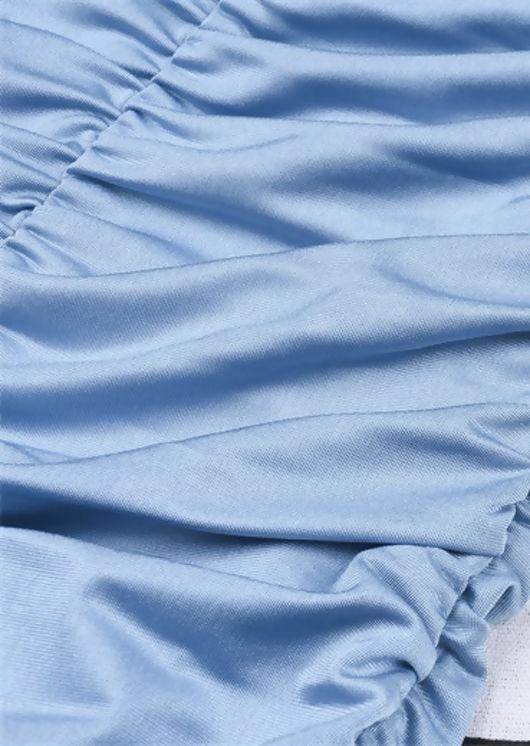 Ruched Stretch Long Sleeve Mini Dress Blue