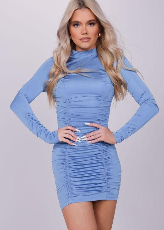 High Neck Ruched Stretch Long Sleeve Mini Dress Blue
